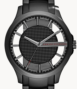 Armani Exchange Three-Hand Black Steel Watch