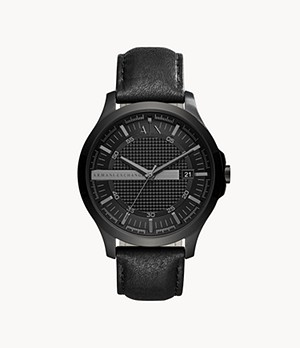 Armani Exchange Three-Hand Date Black Leather Watch