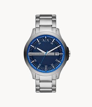 Armani Exchange Three-Hand Date Stainless Steel Watch