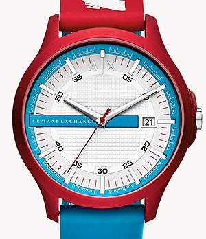 Armani Exchange Three-Hand Date Multicolor Silicone Watch