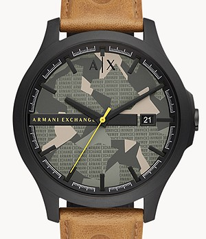 Armani Exchange Three-Hand Date Brown Leather Watch