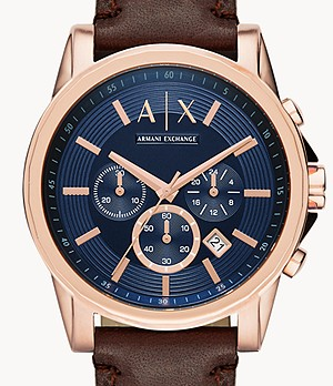 Armani Exchange Chronograph Brown Leather Watch