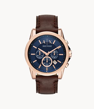 Montre chronographe en cuir brun Armani Exchange