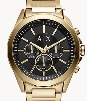 Montre chronographe en acier inoxydable de ton or Armani Exchange