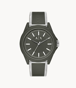Armani Exchange Three-Hand Green Polyurethane Watch