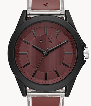 Armani Exchange Three-Hand Burgundy Polyurethane Watch