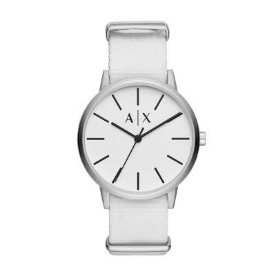 Armani Exchange Three-Hand White Canvas Watch - AX2713 - Watch Station