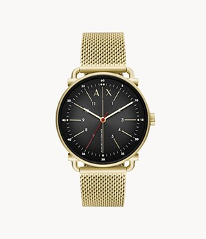 Armani Exchange Three-Hand Gold-Tone Stainless Steel Watch