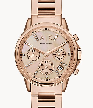 Armani Exchange Chronograph Rose Gold-Tone Stainless Steel Watch