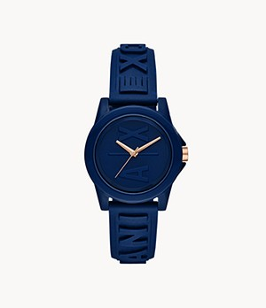 Armani Exchange Three-Hand Blue Silicone Watch