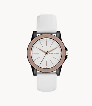 Armani Exchange Three-Hand White Silicone Watch