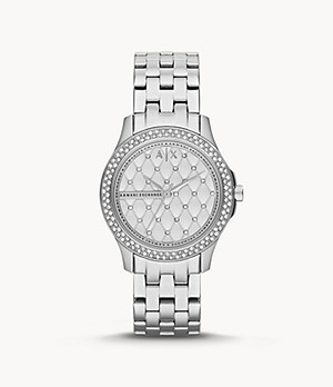 Armani Exchange Women's Three-Hand Silver-Tone Stainless Steel Watch