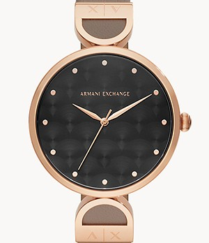 Armani Exchange Three-Hand Matte Gray Leather Watch