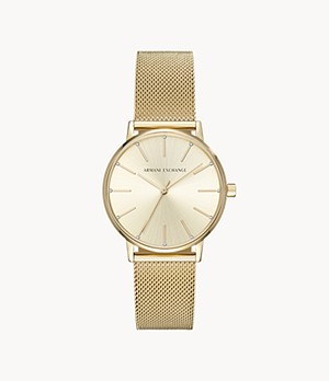 Armani Exchange Three-Hand Rose Gold-Tone Steel Watch