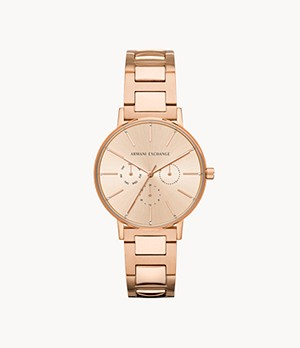 Armani Exchange Multifunction Rose Gold-Tone Stainless Steel Watch