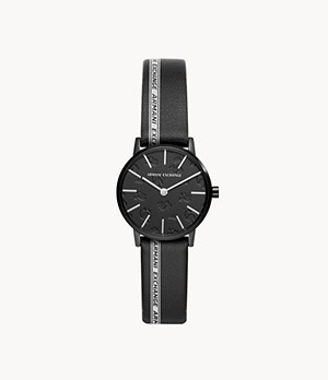Armani Exchange Two-Hand Black Leather Watch
