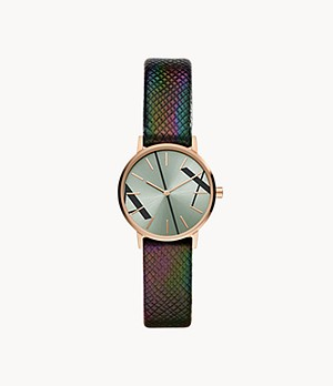 Armani Exchange Two-Hand Green Saffiano Leather Watch