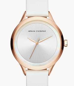 Armani Exchange Three-Hand White Leather Watch