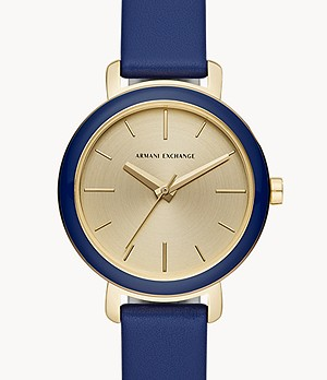 Armani Exchange Three-Hand Blue Leather Watch