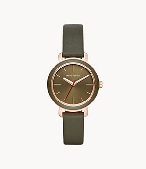 Armani Exchange Three-Hand Green Leather Watch