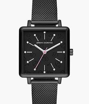 Armani Exchange Three-Hand Black Stainless Steel Watch