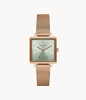 Armani Exchange Three-Hand Rose Gold-Tone Mesh Stainless Steel Watch