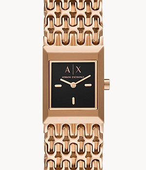 Armani Exchange Two-Hand Rose Gold-Tone Stainless Steel Watch