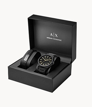 Armani Exchange Men's Watch + Bracelet Gift Box Set