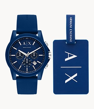 Armani Exchange Chronograph Blue Silicone Watch