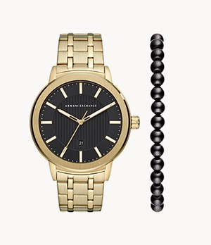 Armani Exchange Three-Hand Date Gold-Tone Stainless Steel Watch