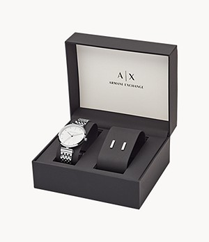 Armani Exchange Stainless Steel Watch and Earring Set