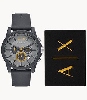Armani Exchange Gray Silicone Watch and Cardholder Gift Set