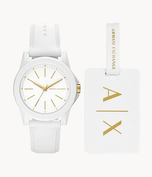 Armani Exchange Three-Hand White Silicone Watch and Luggage Tag Gift Set