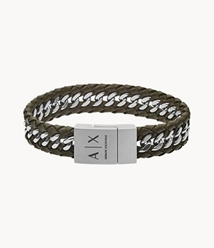 Armani Exchange Military Green Leather Chain Bracelet