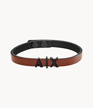 Armani Exchange Brown Leather Bracelet