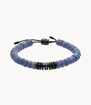 Armani Exchange Blue Semi-Precious Beaded Bracelet
