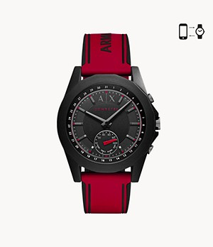 REFURBISHED Armani Exchange Men's Red Silicone Hybrid Smartwatch