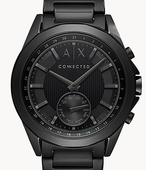 Armani Exchange Men's Black Stainless Steel Hybrid Smartwatch