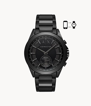 Armani Exchange Men's Black Steel Hybrid Smartwatch