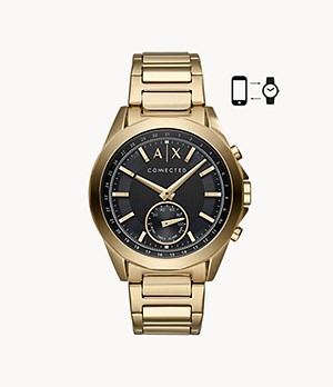 Armani Exchange Men's Gold-Tone Steel Hybrid Smartwatch