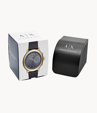 Armani Exchange Men's Blue Leather Hybrid Smartwatch
