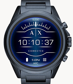 Armani Exchange Men's Blue Stainless Steel Smartwatch