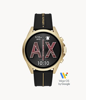 Armani Exchange Men's Black Silicone Smartwatch