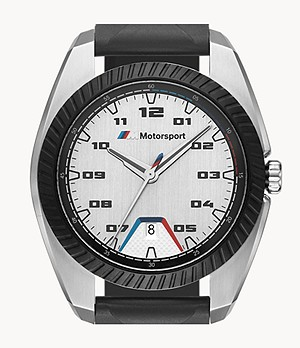 BMW M Motorsport Men's Three-Hand Date Black Silicone Watch