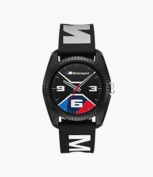 BMW M Motorsport Thee-Hand Black Printed Silicone Watch