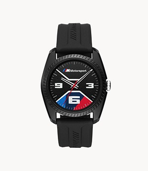 BMW M Motorsport Thee-Hand Black Silicone Watch
