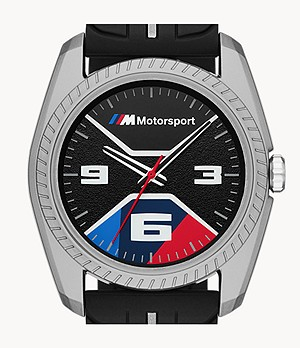 BMW M Motorsport Thee-Hand Embossed Black Silicone Watch