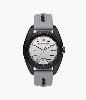BMW M Motorsport Three-Hand Date Gray Silicone Watch