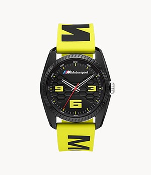BMW M Motorsport Three-Hand Yellow Silicone Watch