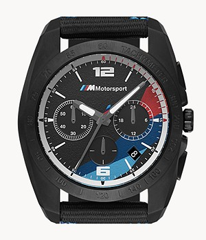 BMW M Motorsport Men's Chronograph Black Silicone Watch
